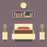 Sola cama del diseño plano con las lámparas Fotografía de archivo libre de regalías