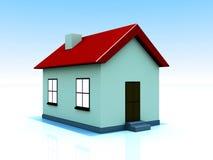 Sola casa con las luces encendido Stock de ilustración