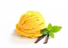 Sola cucharada del helado amarillo foto de archivo