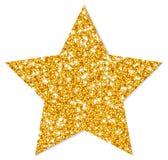 Sola estrella de oro aislada que chispea con la sombra stock de ilustración