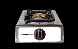 Sola estufa de gas en fondo negro Fotos de archivo