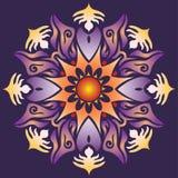 Sola mandala - la geometría abstracta forma a Violet Orange Colors Foto de archivo