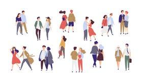 Sola muchacha sola derecha rodeada por los pares románticos felices que caminan junto o los pares de hombres y de mujeres el fech stock de ilustración