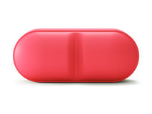 Sola píldora roja en blanco Fotos de archivo