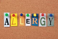 Sola palabra de la alergia Imagenes de archivo