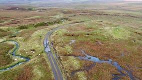 Sola pista en el lago Cuithir y Sgurr un Mhadaidh Ruadh - colina del Fox rojo, isla de Skye, Escocia almacen de video
