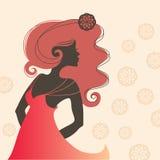Sola silueta hermosa del sideview de la mujer Foto de archivo libre de regalías