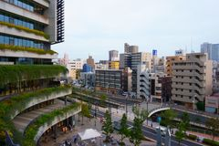 Solamachi shopping facility, balconies with flowers royalty free stock image