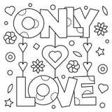 Solamente amor Página que colorea Ilustración del vector Foto de archivo libre de regalías