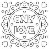 Solamente amor Página que colorea Ilustración del vector Imágenes de archivo libres de regalías