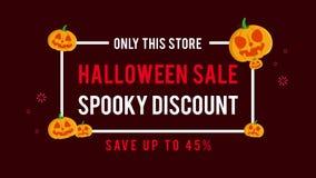 Solamente esta animación fantasmagórica del descuento de la venta de Halloween del strore ilustración del vector