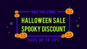Solamente esta animación fantasmagórica del descuento de la venta de Halloween del strore stock de ilustración