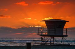 Solana Beach Sunset with Lifeguard Tower stock photography