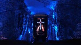 Solankowa katedra Zipaquira jest podziemnym kościół rzymsko-katolicki budującym wśród tuneli/lów solankowa kopalnia obraz stock