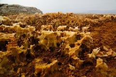 Solankowa tekstura wśrodku Dallol krateru Danakil powulkanicznej depresji Etiopia, Daleko Zdjęcie Royalty Free