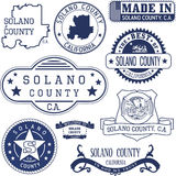 Solano county, CA. Set of stamps and signs Royalty Free Stock Photos