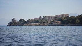 Solanto Caste with sailboat. Solanto Castle from the sea with sailboat stock video