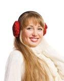 Solapas del oído de la mujer que desgastan joven fotografía de archivo
