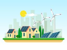 Vector illustration of clean electric energy from renewable sources of sun and wind on white. Power plant buildings with solar pan. Vector of clean electric vector illustration
