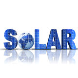 Solar. Word Solar with 3D globe replacing letter O Royalty Free Stock Image