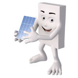 Solar. Friendly 3d figure with isolated white background for symbolic purposes Royalty Free Stock Photos