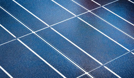 Solar Array. Solar panel lightly dotted with dried water droplets stock image