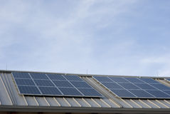 Solar array on roof Stock Photo