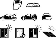 Solar and automotive service. Icons for design Stock Photos