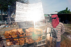 Solar-Barbecued pork from a glass. Royalty Free Stock Images
