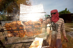 Solar-Barbecued pork from a glass. Stock Photos