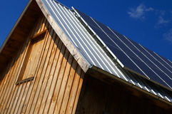 Solar Barn Roof. Solar panels on roof of barn Royalty Free Stock Images
