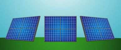 Solar batteries. Three solar batteries in different projections Stock Image