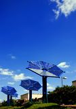 Solar battery on city background Stock Images
