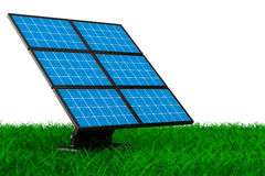 Solar battery on grass. Isolated 3d Royalty Free Stock Photography