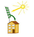 Solar battery on the house Stock Photo