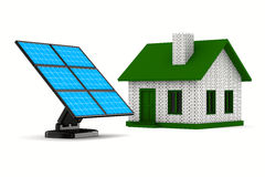 Solar battery and house on white background Stock Image