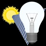 Solar battery and light bulb Royalty Free Stock Photography