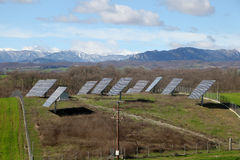 Solar battery panel in the rural landscape, Grevena, Greece Stock Photo