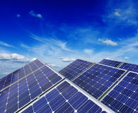 Solar battery panels under blue sky Royalty Free Stock Photo
