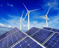 Solar battery panels and wind generators Royalty Free Stock Images