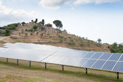 Solar battery plant in country, Sicily Stock Photo