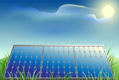 Solar battery power, green grass, blue sky and bright sun. Vector cartoon illustration Royalty Free Stock Photography