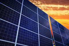 Solar battery on a sunset background Stock Image