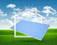 Solar battery and symbol of house royalty free stock image