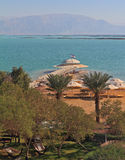 Solar beach on the Dead Sea in December Royalty Free Stock Photography