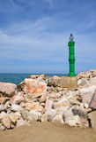A solar beacon on the coast Stock Photography