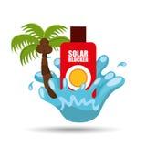 Solar blocker water splash palm summer vacation. Vector illustration Stock Photo