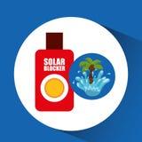 Solar blocker water splash palm summer vacation. Vector illustration Stock Image