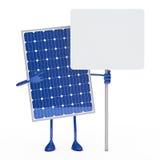 Solar blue panel figure. Hold an billborad Stock Photography