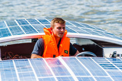 Solar boat pilot Stock Images